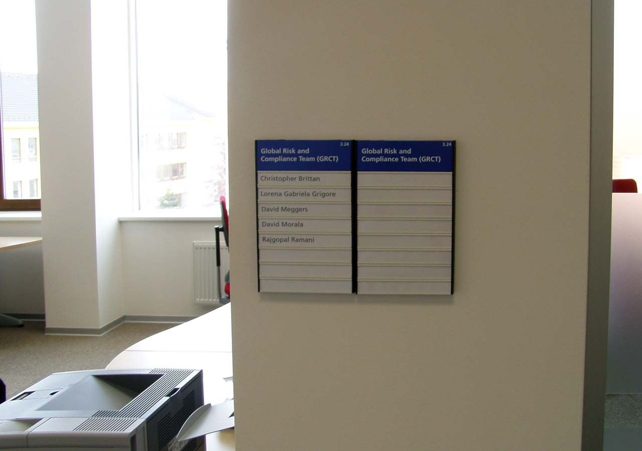 office sign, door sign, building directory sign,  interior directory sign