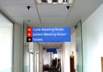 office sign, building directory sign, suspended sign, hanging sign, interior directory sign